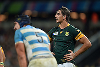 Eben Etzebeth of South Africa looks on. Rugby World Cup Bronze Final between South Africa and Argentina on October 30, 2015 at The Stadium, Queen Elizabeth Olympic Park in London, England. Photo by: Patrick Khachfe / Onside Images