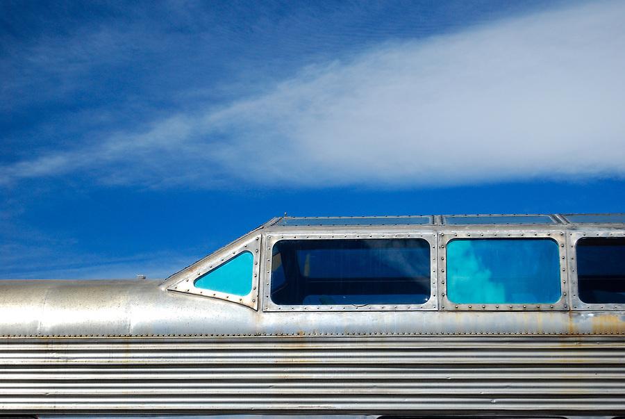 Old dome car from Santa Fe Super Chief train located at Santa Fe Southern Railway, Santa Fe, New Mexico.