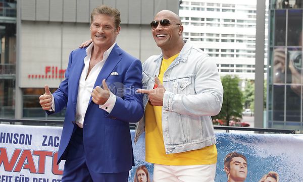 "Actors David Hasselhoff (L) and Dwayne Johnson during a photocall on the occassion of the film ""Baywatch"" in Berlin, Germany, 30 May 2017. The film will premiere in German cinemas on 01 June 2017. Photo: Jörg Carstensen/dpa /MediaPunch ***FOR USA ONLY***"