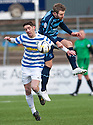 Morton's Stefan McCluskey and Forfar's Danny Denholm challenge for the ball.