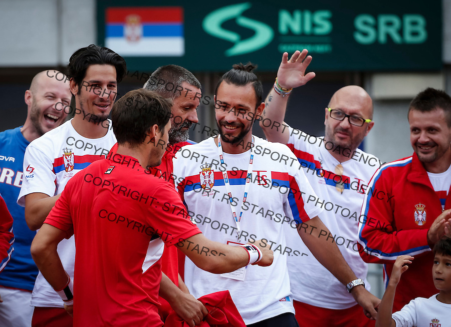 Davis Cup 2016 Quarter Final<br /> Srbija v Velika Britanija<br /> Dusan Lajovic SRB v James Ward GBR<br /> Dusan Lajovic (L) celebrate<br /> Beograd, 16.07.2016.<br /> Foto: Srdjan Stevanovic/Starsportphoto.com&copy;