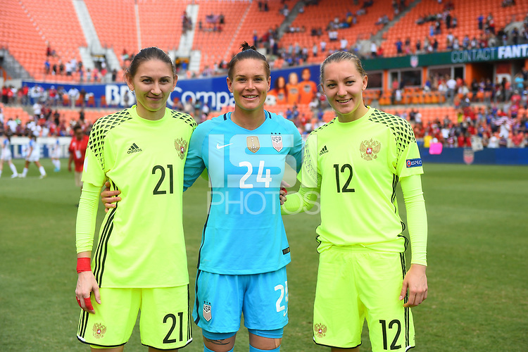 Houston, TX - April 9, 2017: The U.S. Women's national team defeat Russia 5-1 in an international friendly match at BBVA Compass Stadium.