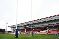 A general view of the Kingsholm pitch prior to the match. Anglo-Welsh Cup Final, between Bath Rugby and Exeter Chiefs on March 30, 2018 at Kingsholm Stadium in Gloucester, England. Photo by: Patrick Khachfe / Onside Images