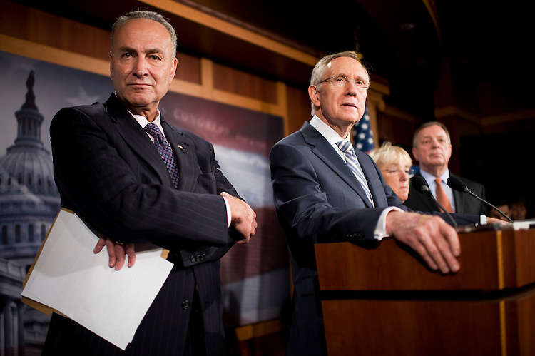 UNITED STATES - JULY 27:  From left, Sen. Charles Schumer, D-N.Y., Senate Majority Leader Harry Reid, D-Nev., Sen. Patty Murray, D-Wash., and Senate Majority Whip Richard Durbin, D-Ill., conduct a news conference in the Capitol criticizing the deficit reduction plan of Speaker John Boehner, R-Ohio.  (Photo By Tom Williams/Roll Call)