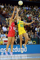 02.08.2017 Englnad's Chelsea Pitman and Australia's Gabrielle Simpson in action during a netball match between Australia and England at the Brisbane Entertainment Centre in Brisbane Australia. Mandatory Photo Credit ©Michael Bradley.