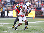 College Park, MD - November 25, 2017: Penn State Nittany Lions wide receiver DaeSean Hamilton (5) gets tackled during game between Penn St and Maryland at  Capital One Field at Maryland Stadium in College Park, MD.  (Photo by Elliott Brown/Media Images International)