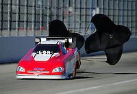 Feb. 10, 2012; Pomona, CA, USA; NHRA funny car driver Jack Wyatt during qualifying at the Winternationals at Auto Club Raceway at Pomona. Mandatory Credit: Mark J. Rebilas-