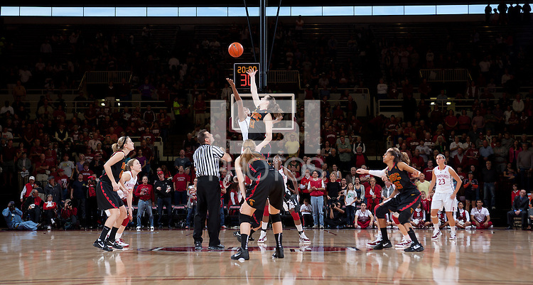 STANFORD, CA - January 22, 2011: The Stanford women's basketball team tip off during their game against USC at Maples Pavilion. Stanford beat USC 95-51.
