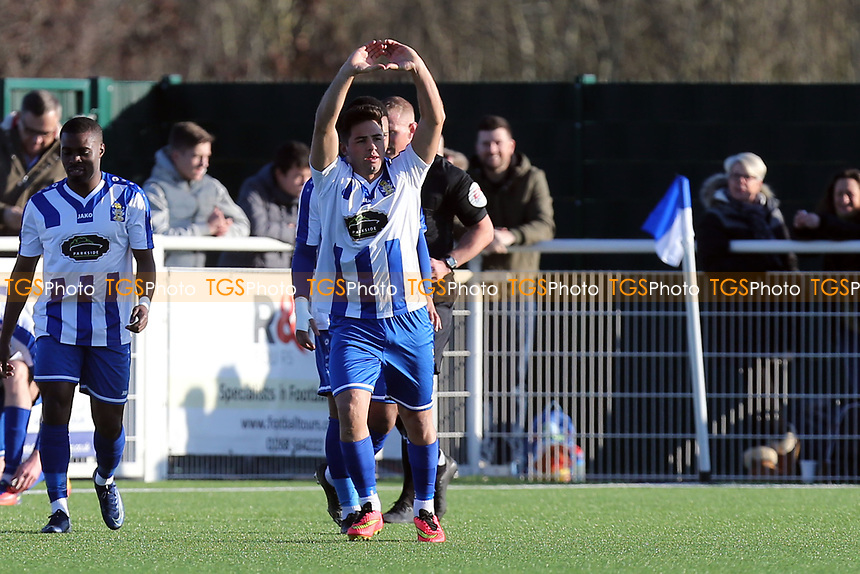 Jason Raad of Aveley celebrates scoring the first goal during Aveley vs Chelmsford City, Buildbase FA Trophy Football at Parkside on 8th February 2020