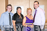 GOOD TIME: ITT Mental Health Nursing Degree Course graduates having a great time at the their graduation ball at the Ballyroe Heights Hotel on Thursday l-r: Jamie Kelly, Caroline Moriarty, Marguerite Doyle and Derek Moyihan.   Copyright Kerry's Eye 2008