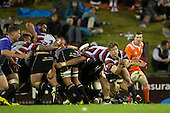 Richard Judd gets the ball away to the backline. The game of Three Halves, a pre-season warm-up game between the Counties Manukau Steelers, Northland and the All Blacks, played at ECOLight Stadium, Pukekohe, on Friday August 12th 2016. Photo by Richard Spranger.