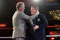 Ricky Hatton (R) receives an Icon Award from Frank Warren during a Charity Dinner Boxing Show at the Hilton Hotel on 13th November 2017