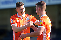 James Bolton (left) scorer of Shrewsbury's opening goal, celebrates their victory with Ryan Sears at the final whistle during Gillingham vs Shrewsbury Town, Sky Bet EFL League 1 Football at The Medway Priestfield Stadium on 13th April 2019