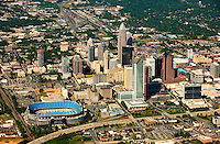 Aerial photography over Charlotte, NC, and the surrounding areas from May 2009. Photos by Charlotte photographer Patrick Schneider Photography. Photo of the Charlotte skyline and downtown Charlotte, NC.