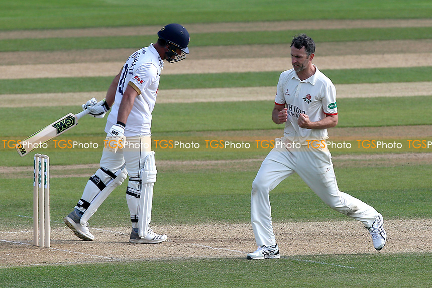 Graham Onions of Lancashire celebrates taking the wicket of Ryan ten Doeschate during Essex CCC vs Lancashire CCC, Specsavers County Championship Division 1 Cricket at The Cloudfm County Ground on 21st April 2018