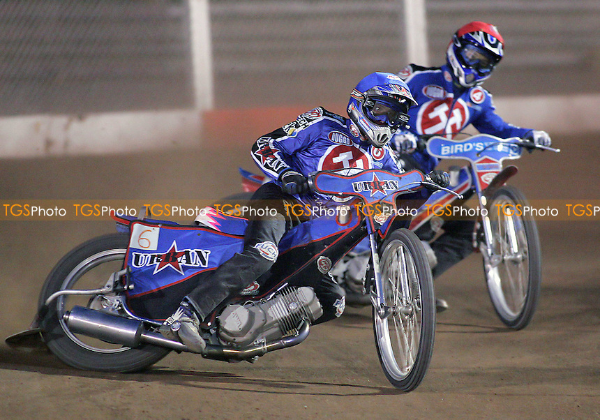 Heat 14 - Mariusz Puszakowski (blue) and Leigh Lanham on their way to a vital 5-1 - Arena Essex Hammers vs Coventry Bees - Sky Sports Elite League A - 31/05/06 - (Gavin Ellis 2006)