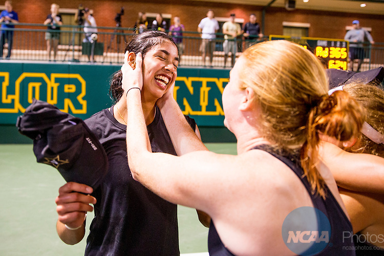 19 MAY 2015:  Astra Sharma celebrates with teammates after Vanderbilt won The Division I Women's Tennis Championship, held at the Hurd Tennis Center on the Baylor University campus in Waco, TX.  Vanderbilt defeated UCLA 4-1 to win the team national title.  Darren Carroll/NCAA Photos