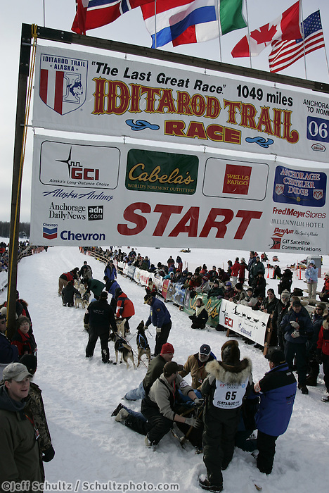 Louis Nelson of Kotzebue leaves the start line during the Iditarod restart on Sunday in Willow, Alaska