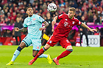 17.03.2019, Allianz Arena, Muenchen, GER, 1.FBL,  FC Bayern Muenchen vs. Mainz 05, DFL regulations prohibit any use of photographs as image sequences and/or quasi-video, im Bild Jean-Paul Boetius (Mainz #5) im kampf mit Joshua Kimmich (FCB #32) <br /> <br />  Foto &copy; nordphoto / Straubmeier