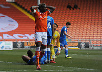 Blackpool's Armand Gnanduillet rues an early miss<br /> <br /> Photographer Kevin Barnes/CameraSport<br /> <br /> The EFL Sky Bet League One - Blackpool v Peterborough United - Saturday 13th April 2019 - Bloomfield Road - Blackpool<br /> <br /> World Copyright &copy; 2019 CameraSport. All rights reserved. 43 Linden Ave. Countesthorpe. Leicester. England. LE8 5PG - Tel: +44 (0) 116 277 4147 - admin@camerasport.com - www.camerasport.com
