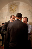 Washington, DC - June 19, 2009 -- United States President Barack Obama has a press briefing with Senior Advisor David Axelrod, left,  and Press Secretary Robert Gibbs prior to interview with Harry Smith of CBS News, in the Map Room at the White House, June 19, 2009. .Mandatory Credit: Pete Souza - White House via CNP