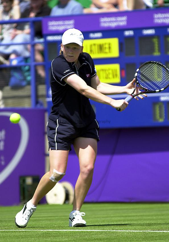 Photo. Rene Solari..19/6/01  .Eastbourne Day 2.  .British Louise Latimer plays her 1st round tie against Russian Elena Likhovtseva....