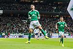 08.03.2019, Weserstadion, Bremen, GER, 1.FBL, Werder Bremen vs FC Schalke 04<br /> <br /> DFL REGULATIONS PROHIBIT ANY USE OF PHOTOGRAPHS AS IMAGE SEQUENCES AND/OR QUASI-VIDEO.<br /> <br /> im Bild / picture shows<br /> Jubel 1:1, Milot Rashica (Werder Bremen #11) bejubelt seinen Treffer zum 1:1 mit Jubelfaust und in der Luft, <br /> <br /> Foto &copy; nordphoto / Ewert