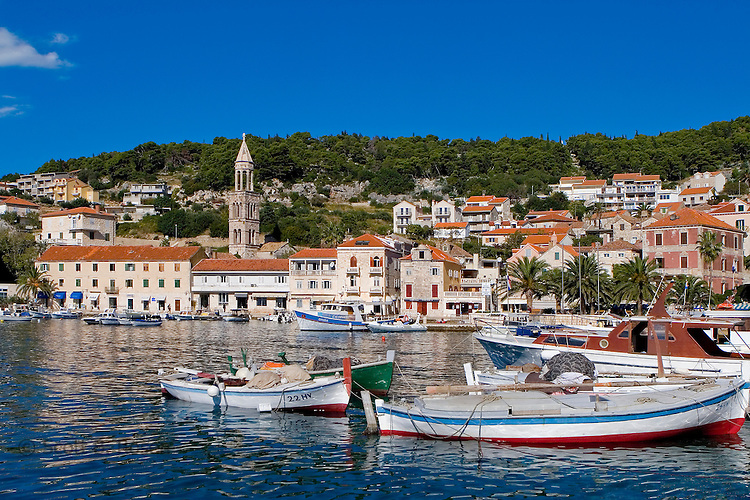 Boats in the beautiful Hvar Town harbor, Hvar Island, Croatia