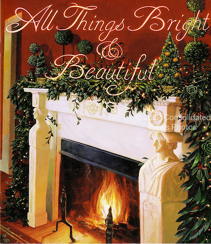 "Washington, D.C. - November 30, 2005 --  First lady Laura Bush announced ""All Things Bright and Beautiful"" as the theme for the 2005 holiday season at the White House in Washington, D.C. on November 30, 2005. This is the cover of the holiday booklet that will be given to all visitors and guests during the holiday season.  It was painted by Donna Green, a fourth generation artist.  She is descended from John Frederick Spencer, a noted lithographer for the first greeting card company in the United States.  .Credit: Ron Sachs / CNP"