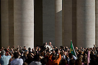 Vatican City, Vatican, November 11, 2015. Pope Francis waves to the faithful as he holds his weekly audience in St. Peter's Square in Vatican City, Vatican.