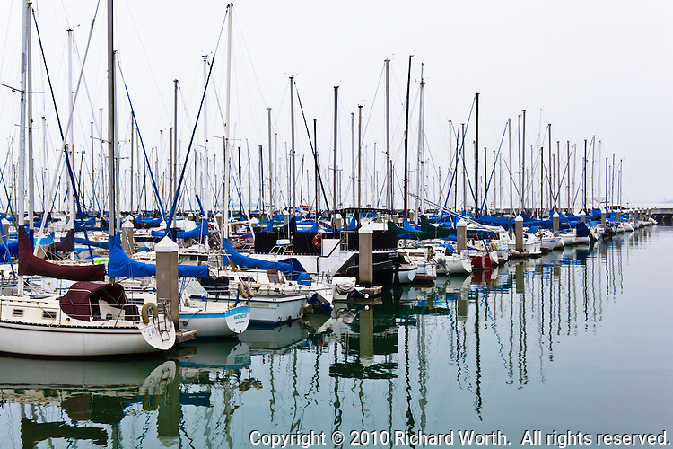 Sailboats in San Francisco's South Beach Harbor on an overcast winter day.