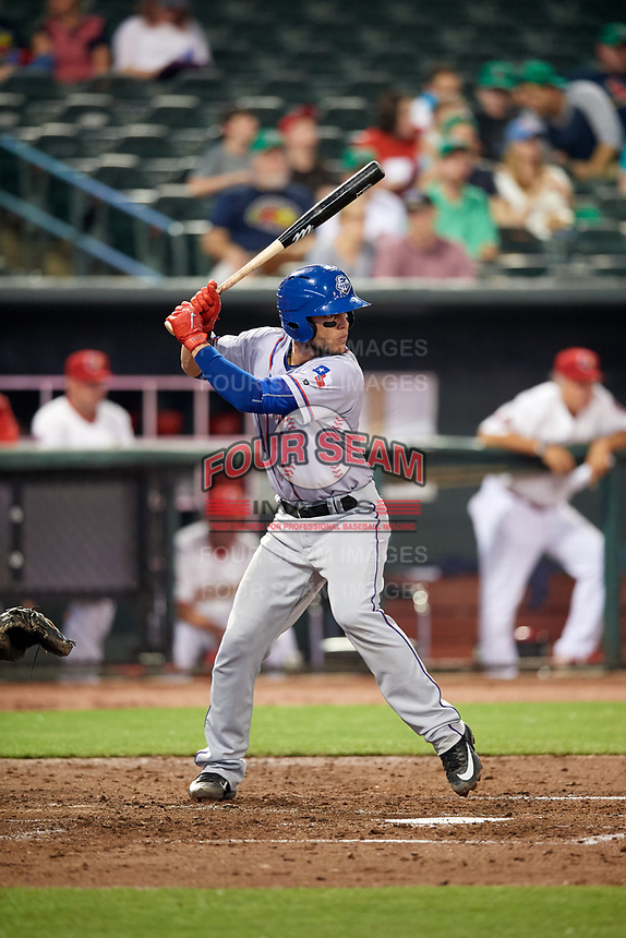 Round Rock Express catcher A.J. Jimenez (6) at bat during a game against the Memphis Redbirds on April 28, 2017 at AutoZone Park in Memphis, Tennessee.  Memphis defeated Round Rock 9-1.  (Mike Janes/Four Seam Images)