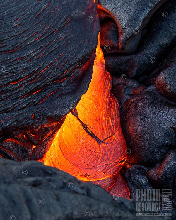 Lava Tear: Lava forms a tear-shaped image on the 61g flow field, Hawai'i Volcanoes National Park, Big Island.