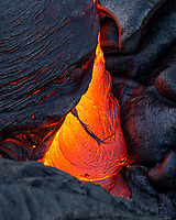 Lava Tear: Lava forms a tear-shaped image on the 61g flow field, Hawai'i Volcanoes National Park, Big Island.