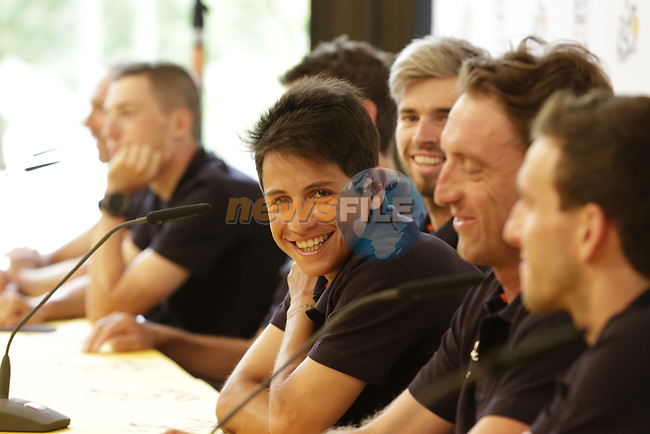 Esteban Chaves (COL) Orica-Scott team press conference before the 104th edition of the Tour de France 2017, Dusseldorf, Germany. 29th June 2017.<br /> Picture: Eoin Clarke | Cyclefile<br /> <br /> <br /> All photos usage must carry mandatory copyright credit (&copy; Cyclefile | Eoin Clarke)