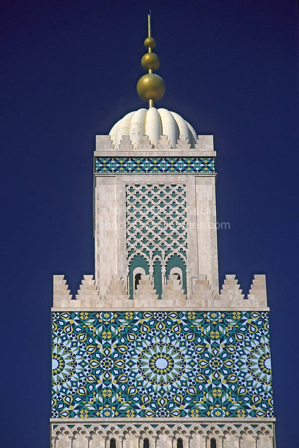 Casablanca, Morocco - Minaret of the Mosque of Hassan II.
