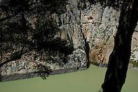 Cliffs at El Chorro, a limestone gorge in Andalusia, Spain.