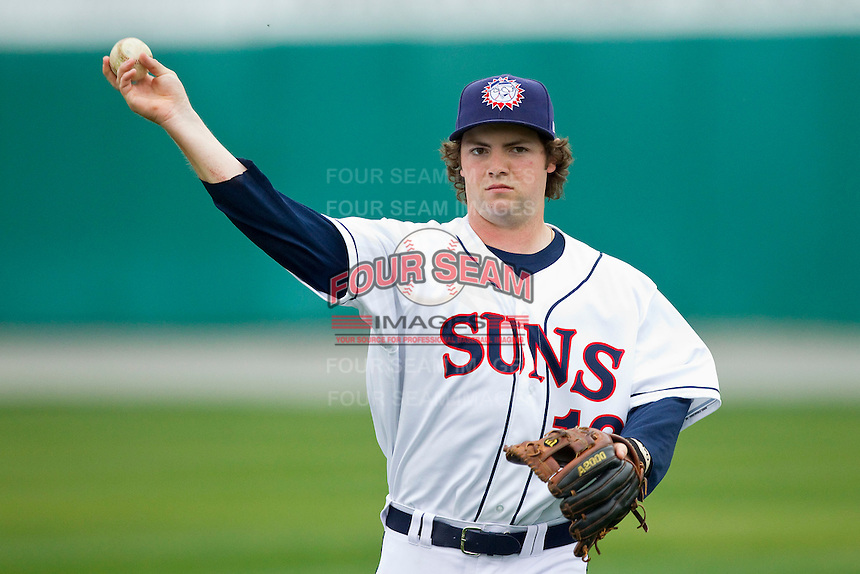 Mike McQuillan (13) of the Hagerstown Suns warms up in the outfield prior to the game against the Delmarva Shorebirds at Municipal Stadium on April 11, 2013 in Hagerstown, Maryland.  The Shorebirds defeated the Suns 7-4 in 10 innings.  (Brian Westerholt/Four Seam Images)