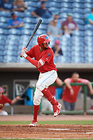 Clearwater Threshers right fielder Jose Pujols (23) at bat during a game against the Jupiter Hammerheads on April 9, 2018 at Spectrum Field in Clearwater, Florida.  Jupiter defeated Clearwater 9-4.  (Mike Janes/Four Seam Images)