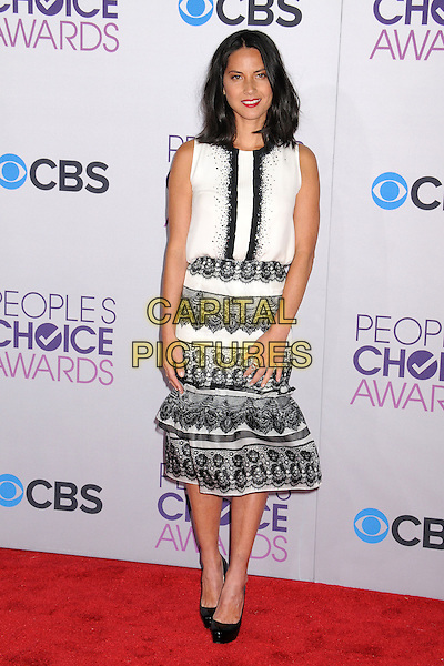 Olivia Munn.People's Choice Awards 2013 - Arrivals held at Nokia Theatre L.A. Live, Los Angeles, California, USA..January 9th, 2013.full length black lace white skirt top sleeveless.CAP/ADM/BP.©Byron Purvis/AdMedia/Capital Pictures.