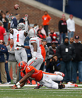 Ohio State Buckeyes cornerback Bradley Roby (1) leaps to catch a tipped pass intended for Illinois Fighting Illini quarterback Reilly O'Toole (4) during Saturday's NCAA Division I football game at Memorial Stadium in Champaign, Il., on November 16, 2013. Ohio State won the game 60-35. (Barbara J. Perenic/The Columbus Dispatch)