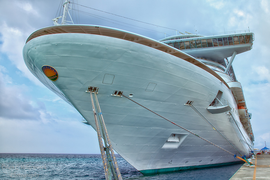 The bow of the Ruby Princess cruise ship in port at Grand Turk in the Caribbean.