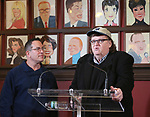 Director Michael Mayer with Michael Moore as he announces he will make his Broadway debut with 'The Terms of My Surrender' at Sardi's on May 1, 2017 in New York City.