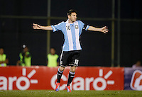 ASUNCION – PARAGUAY – 10-09-2013: Lionel Messi, jugador  de Argentina, celebra el gol anotado durante partido en el estadio Defensores del Chaco en Asuncion, Paraguay, septiembre10 de 2013. Los seleccionados de Paraguay y Argentina disputan partido en la fecha diez y seis por la clasificatoria a la Copa Mundo FIFA Brasil 2014. (Foto: Photogamma / Javier Garcia M. /VIzzorImage).  Lionel Messi, player  from Argentina celebrates a goal scored during game at the Defensores del Chaco Stadium in Asuncion Paraguay, September 10, 2013. The Paraguay and Argentina teams dispute a game on the date sixteen qualifying to the FIFA World Cup Brazil 2014. (Photo: Photogamma / Javier Garcia M. /VIzzorImage)