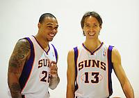 Dec. 16, 2011; Phoenix, AZ, USA; Phoenix Suns guards Shannon Brown (left) and Steve Nash poses for a portrait during media day at the US Airways Center. Mandatory Credit: Mark J. Rebilas-
