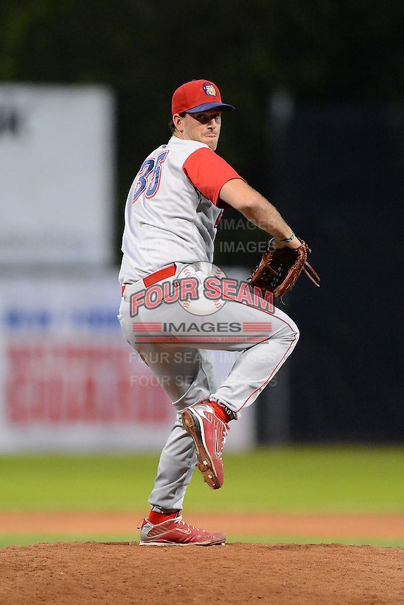 Williamsport Crosscutters pitcher Robert Marcello #35 during a game against the Jamestown Jammers on June 20, 2013 at Russell Diethrick Park in Jamestown, New York.  Jamestown defeated Williamsport 12-6.  (Mike Janes/Four Seam Images)