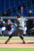 Alabama State Hornets shortstop PJ Biocic (1) at bat during a game against the Cal State Fullerton Titans on February 14, 2015 at Bright House Field in Clearwater, Florida.  Alabama State defeated Cal State Fullerton 3-2.  (Mike Janes/Four Seam Images)