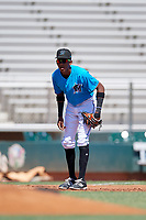 Miami Marlins third baseman Isaac De Leon (65) during an Instructional League game against the Washington Nationals on September 25, 2019 at Roger Dean Chevrolet Stadium in Jupiter, Florida.  (Mike Janes/Four Seam Images)