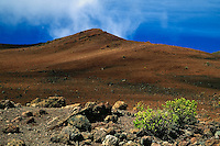 The natural landscape of HALEAKALA NATIONAL PARK on Maui in Hawaii is rugged and barren