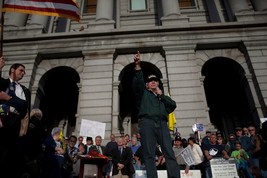 Denver, Colorado, March 31, 2010 - Former U.S. Congressman Tom Tancredo spoke about the need to seal our borders against illegal immigration during Tea Party Express rally on the Capitol steps, the ninth in its 43-city tour across the country. ..